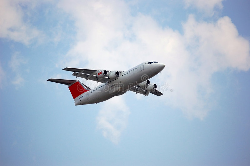 Passenger Jet. During take off from London regional airport stock image