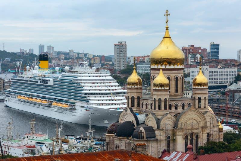 Passenger liner Costa Serena during the Eastern economic forum in Vladivostok stock image