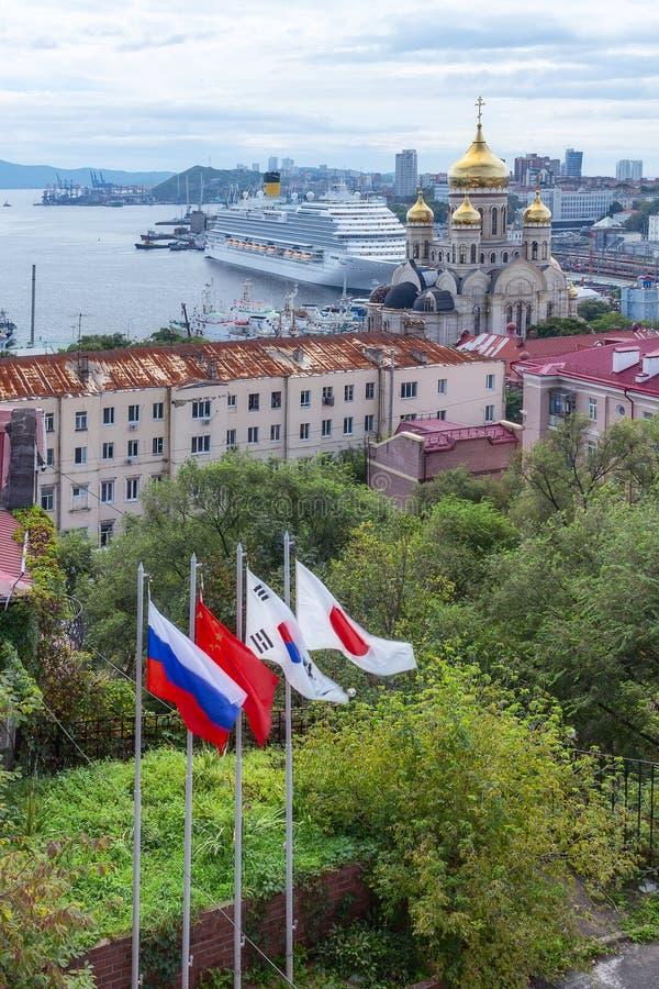 Passenger liner Costa Serena during the Eastern economic forum in Vladivostok royalty free stock image