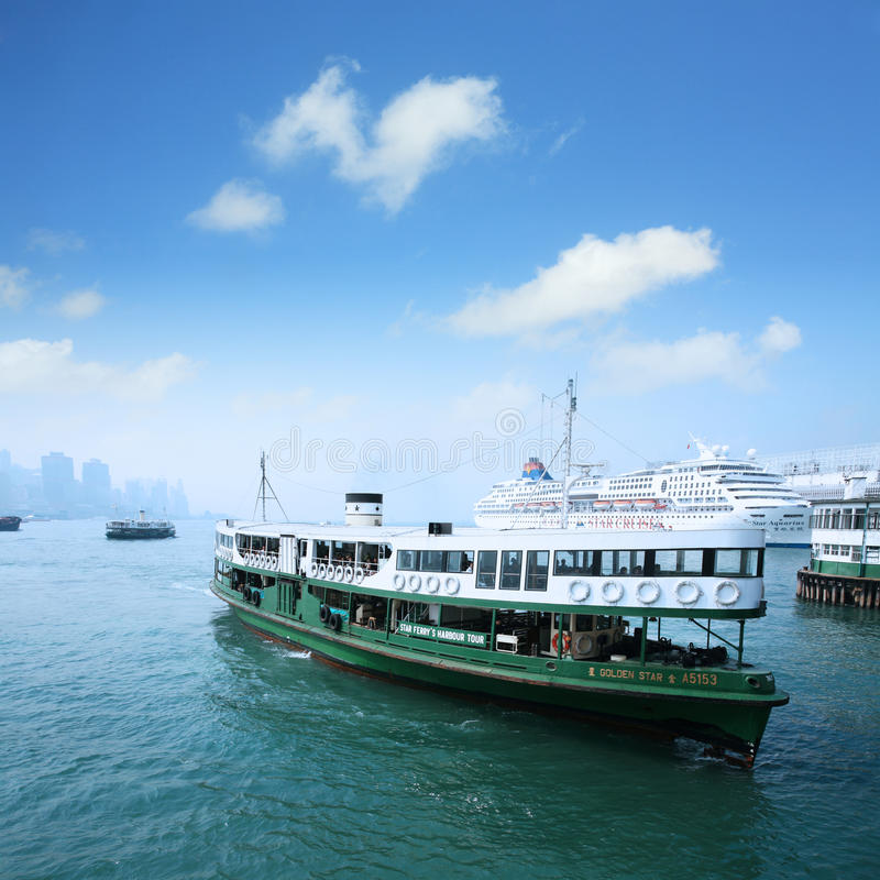 Passenger liner in hong kong stock photography