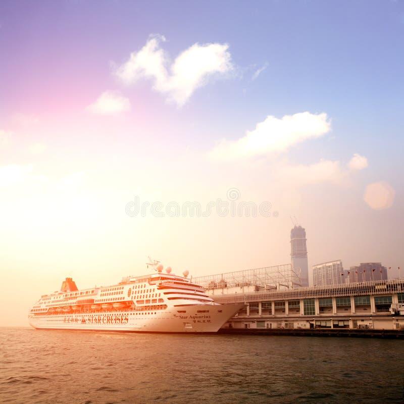 Passenger liner in hong kong stock photo