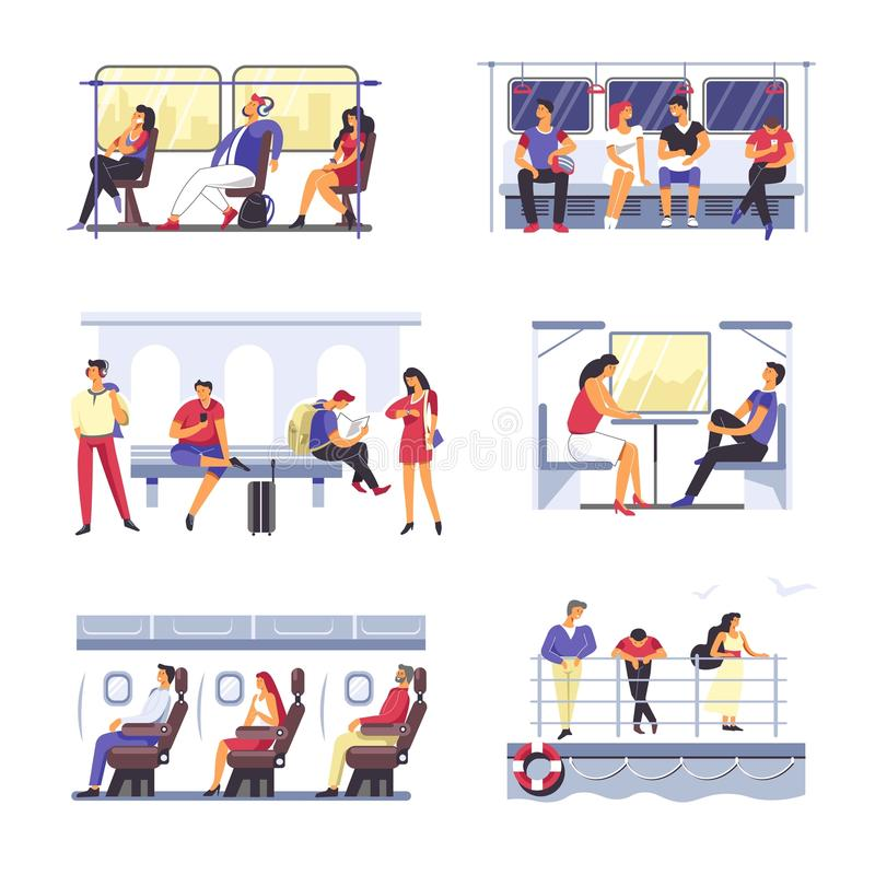 Passenger people in public transport. Vector faceless man and woman. On tram or bus seats, wain ting metro underground on bench or in airplane, train couch and royalty free illustration