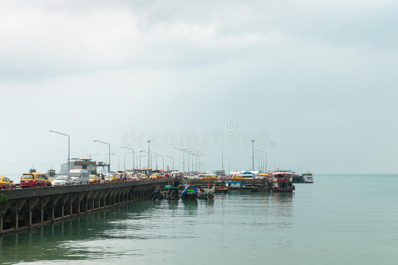 Download Passenger Pier With Many Cars And Boats Editorial Stock Photo - Image: 96125843