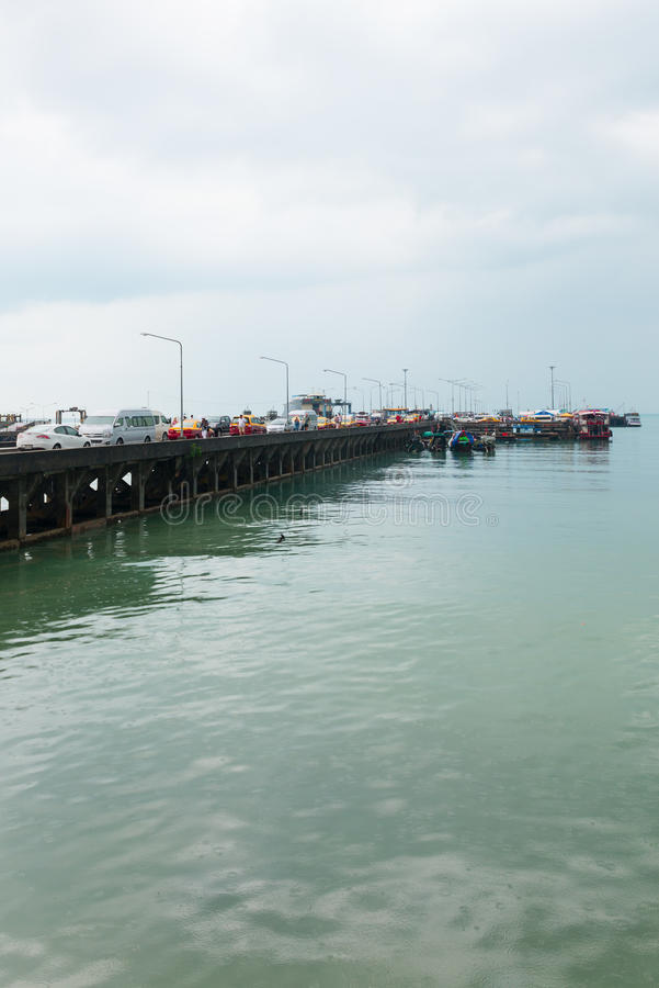 Download Passenger Pier With Many Cars And Boats Editorial Photography - Image of island, technique: 96125862