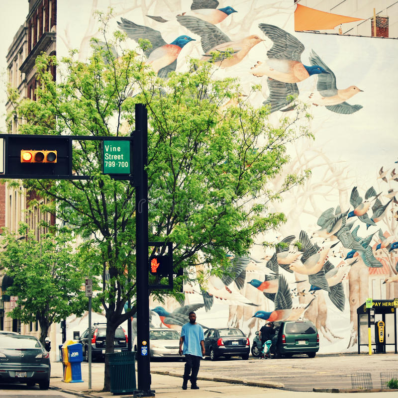 Passenger Pigeon Mural - Cincinnati, Ohio. A Passenger Pigeon Mural in Cincinnati, Ohio street scene with a man standing by the street light stock images