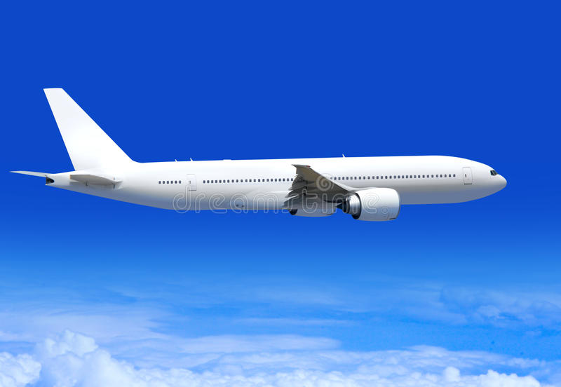 Passenger plane in aerosphere royalty free stock photos