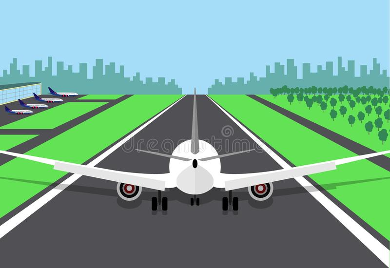 Passenger plane at the beginning of the runway, preparing for take off. Vector illustration of an airplane, rear view, on a airstr. Ip and with the airport stock illustration