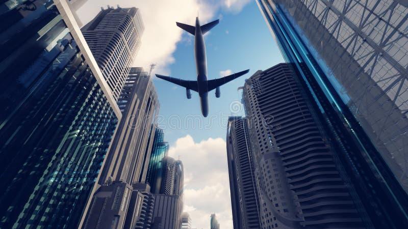 A passenger plane flies over a modern megapolis at sunrise. 3D Rendering. A passenger plane flies over a modern megapolis at sunrise royalty free illustration
