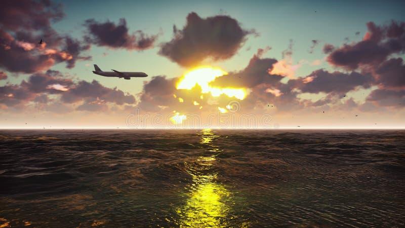 Passenger plane flies over the ocean at sunset. Beautiful summer background. 3D Rendering stock illustration