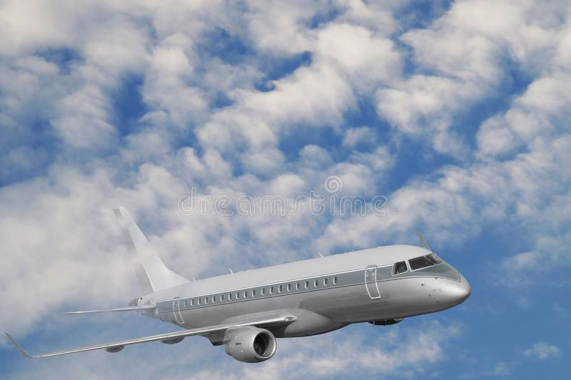 Travel by plane. The passenger plane during the flight rises above the clouds level. The passenger plane during the flight rises above the clouds level. Travel stock photography