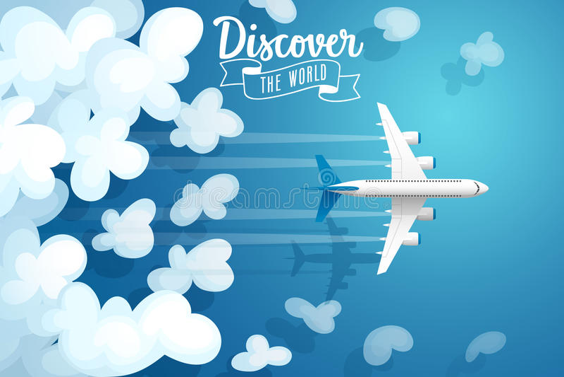 Passenger plane flying above clouds, travel poster. vector illustration
