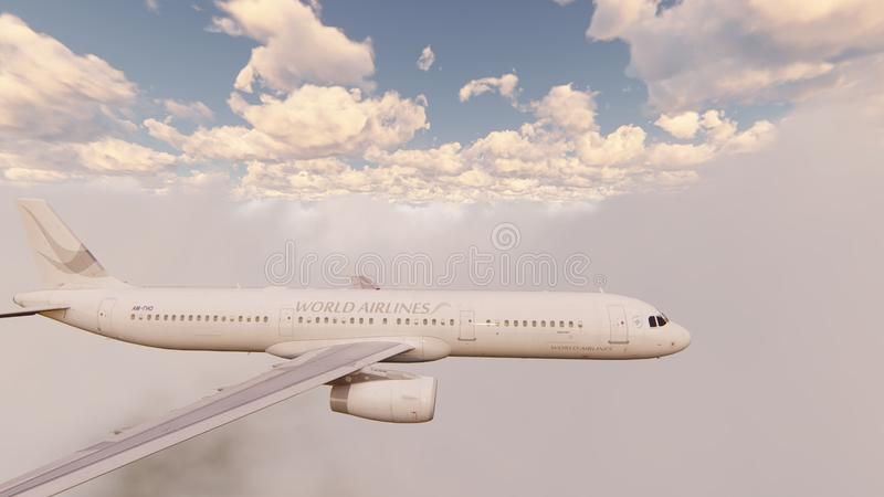 Passenger plane flying through the clouds in the blue sky. 3D Rendering royalty free illustration