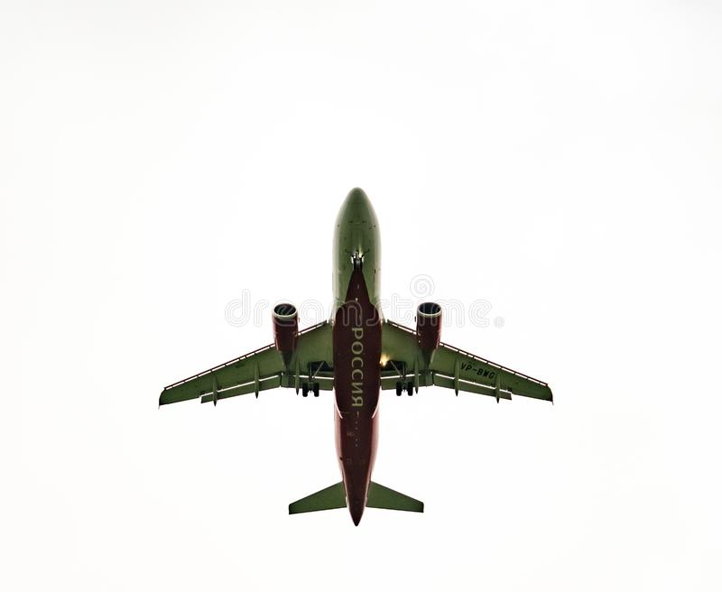 Aircraft grounding in cloudy weather. stock images
