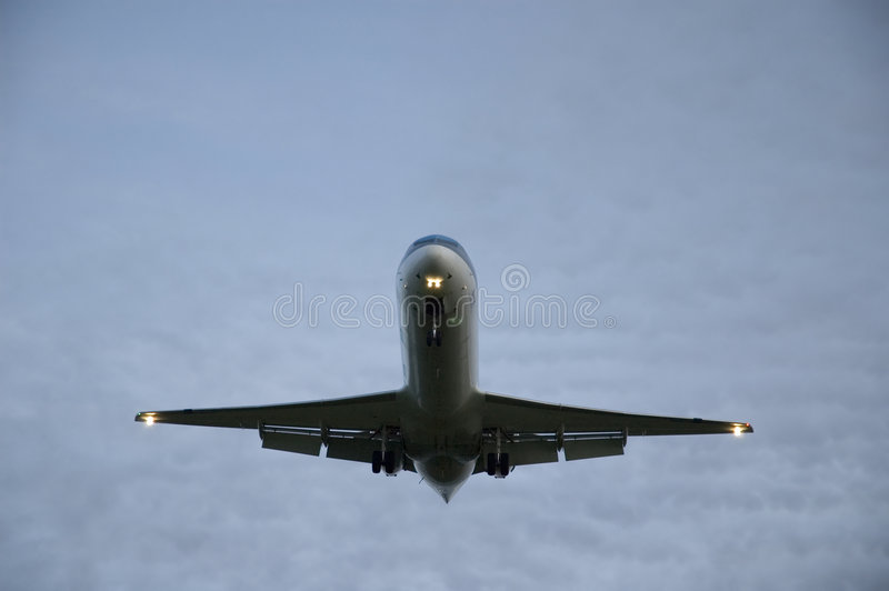 Download Passenger plane overhead. stock image. Image of cloudy - 1921613