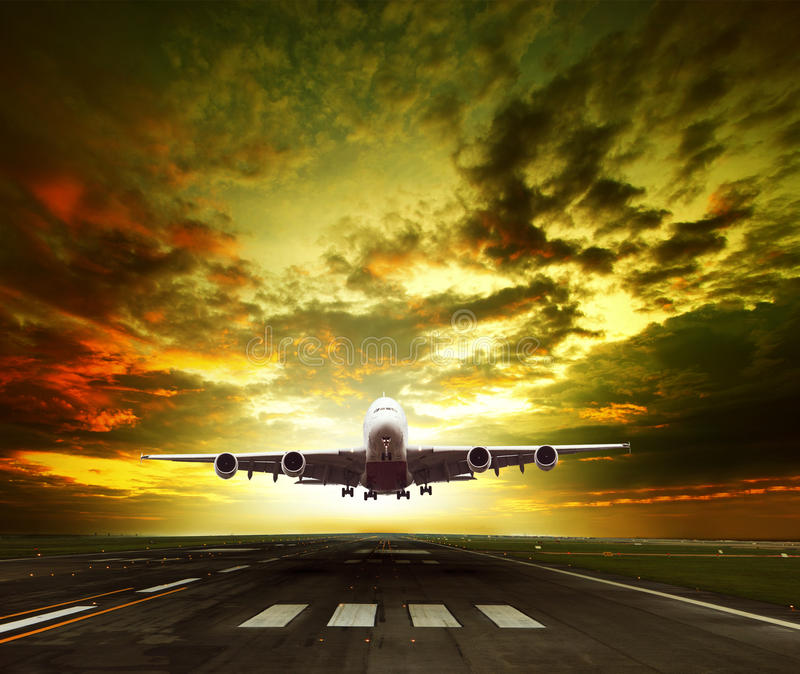 Passenger plane ready to take off on airport runways use for traveling ,cargo ,air transport ,business stock photos