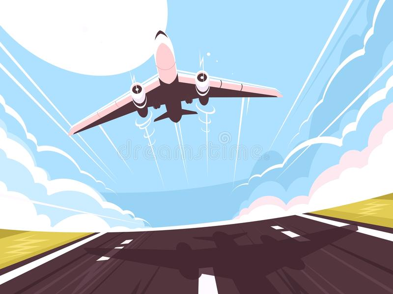 Passenger plane takes off from runway. Air transport, vector illustration stock illustration
