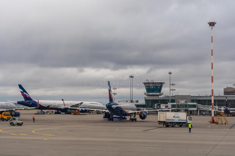 Passenger planes on the parking at the Moscow Sheremetyevo Airport stock photos