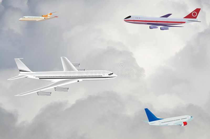 Download Passenger Planes In The Sky Stock Illustration - Image: 5159816