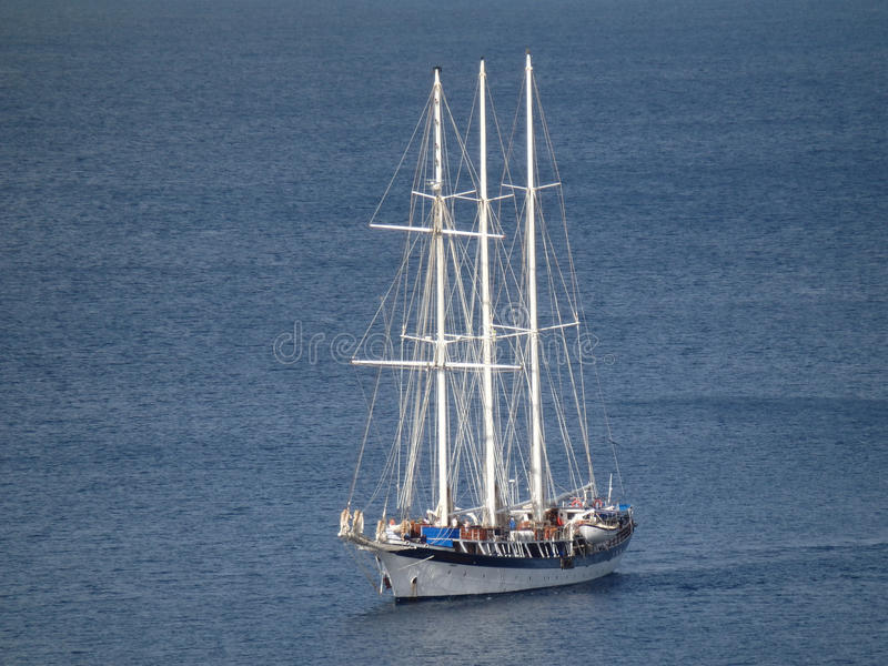 A passenger sailing ship entering admiralty bay on bequia royalty free stock images