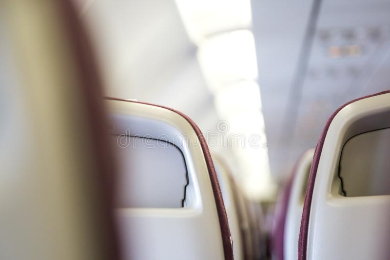 Passenger seat, Interior of airplane Travel concept. Passenger seat, Interior of airplane. Waiting for boarding. Travel concept royalty free stock images