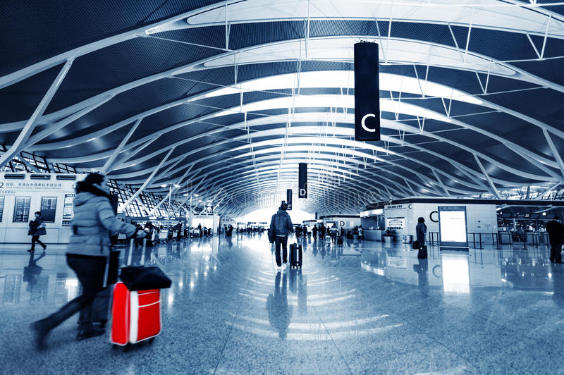 Passenger in the shanghai pudong airport royalty free stock images