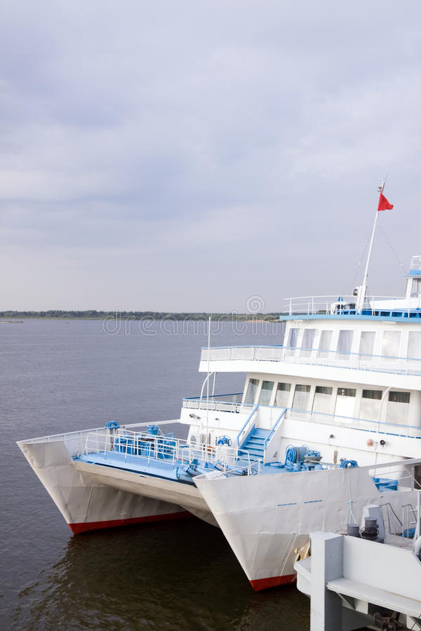 Passenger ship. Still in the dock of leaving royalty free stock photography