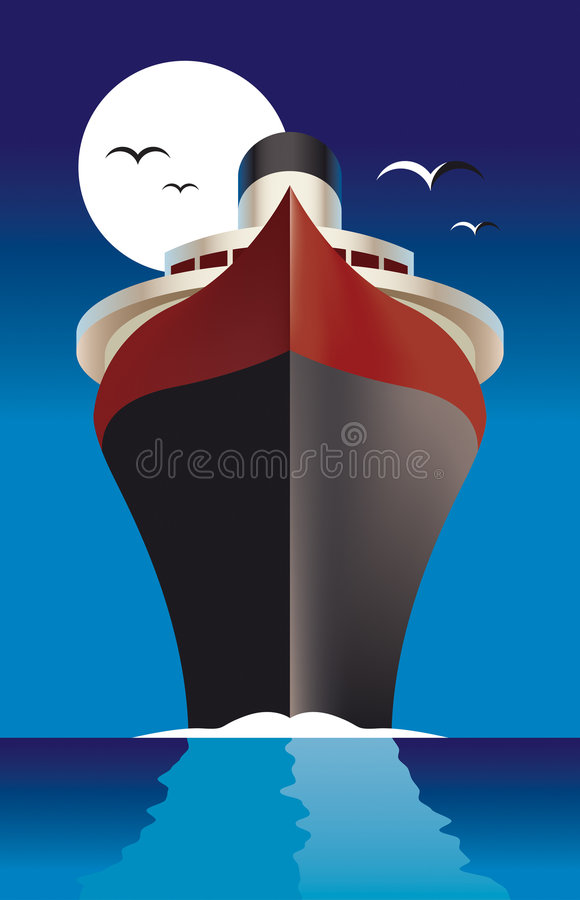 Passenger ship. Illustration of passenger ship or liner sailing on ocean with full moon in background