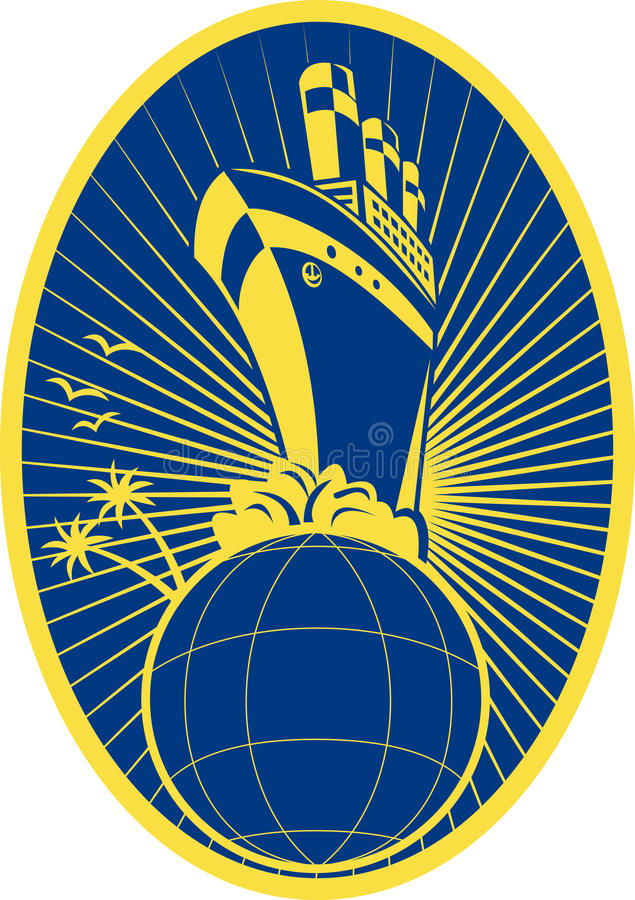 Passenger Ship Boat Ocean Liner Globe Stock Photos