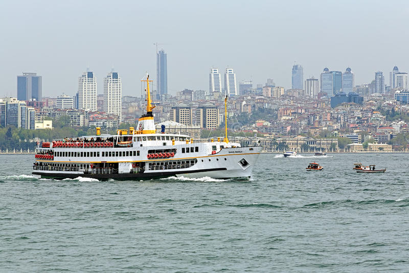 Passenger ship in Bosphorus, Istanbul stock photo