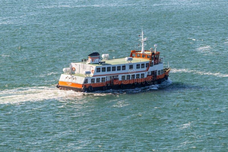 Passenger Ship Dafundo in Lisbon. Lisbon, Portugal - May 19, 2017: Passenger Ship Dafundo goes in the Tagus River, Lisbon, Portugal royalty free stock photo