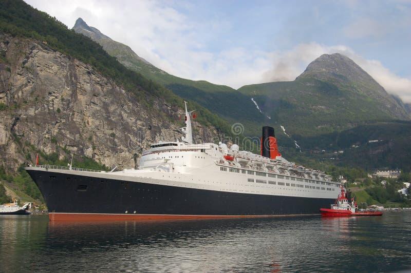 Passenger ship in Geirangerfjord stock images