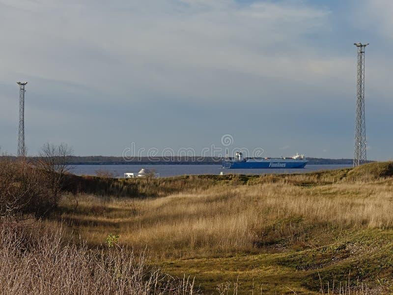 Passenger ferry leaving the harbor of Paldiski, Estonia royalty free stock photography