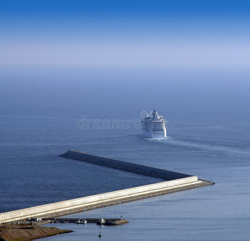 Passenger ship leaving port. Out for the sea travel royalty free stock photography