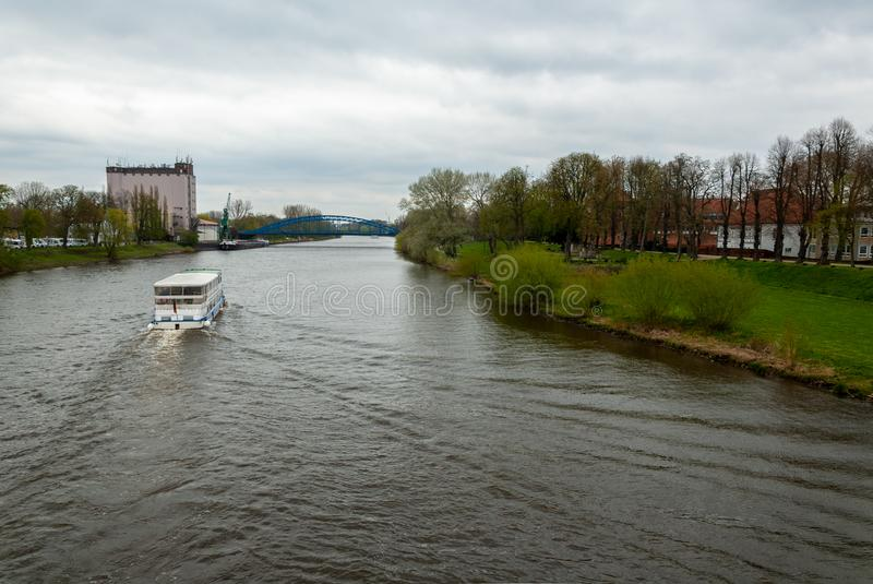 Passenger ship on the river Weser royalty free stock image