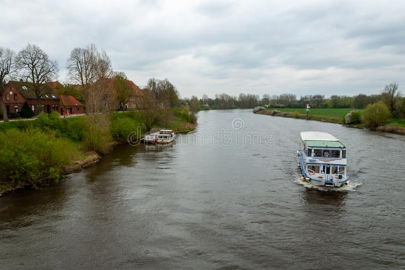 Passenger ship on the river Weser stock photos