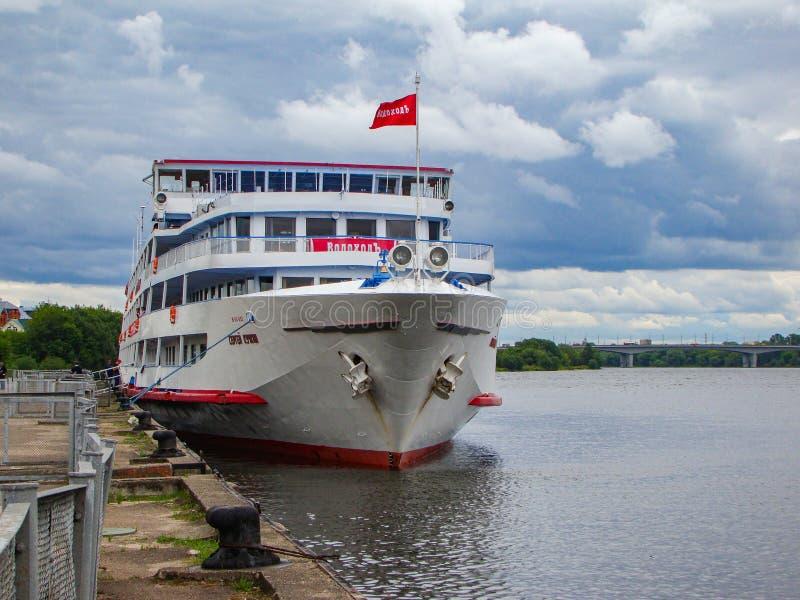 Passenger ship Sergey Kuchkin on the Volga river. Tver. Russian Federation. July 3, 2018. Passenger ship Sergei Kuchkin on the Volga river at the Tver pier stock photos