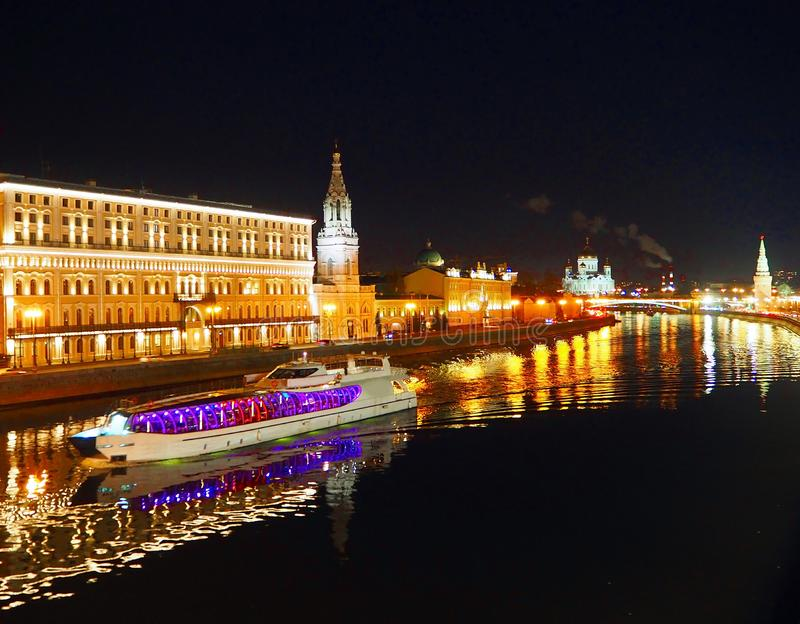 Passenger ship, view from the bridge to the Kremlin, Moscow River and Moscow. Panorama in the evening, Moscow, Russia royalty free stock image