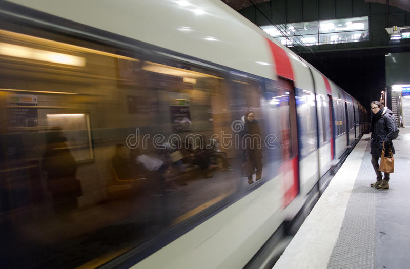 Passenger on subway platform royalty free stock images