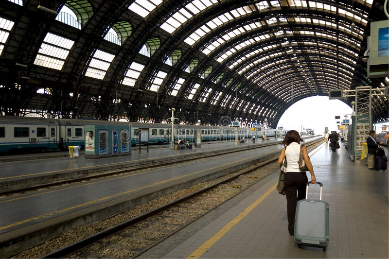 Passenger train. At the railway station stock images