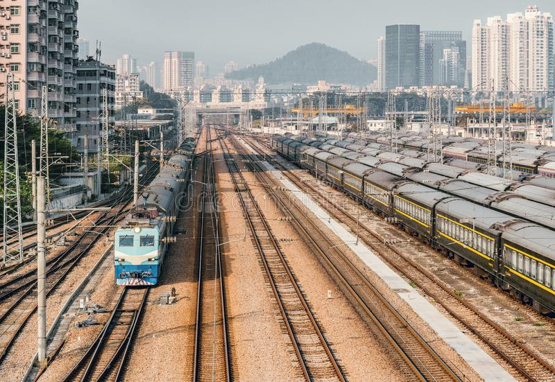 Passenger train on the railway station at day time stock photos