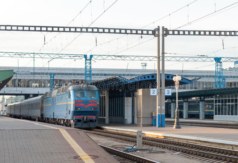 Passenger train at the station. The arrival of a passenger train at the station royalty free stock image