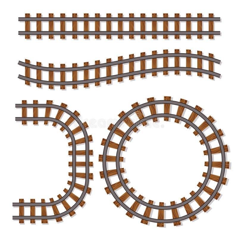 Passenger train vector rail tracks brush, railway line or railroad elements isolated on white background royalty free illustration