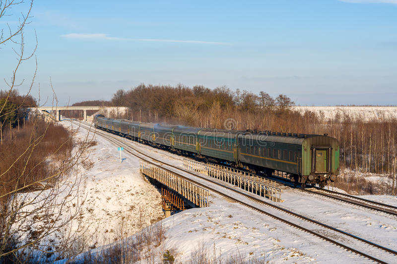 Passenger train during wintertime in Ukraine royalty free stock photography