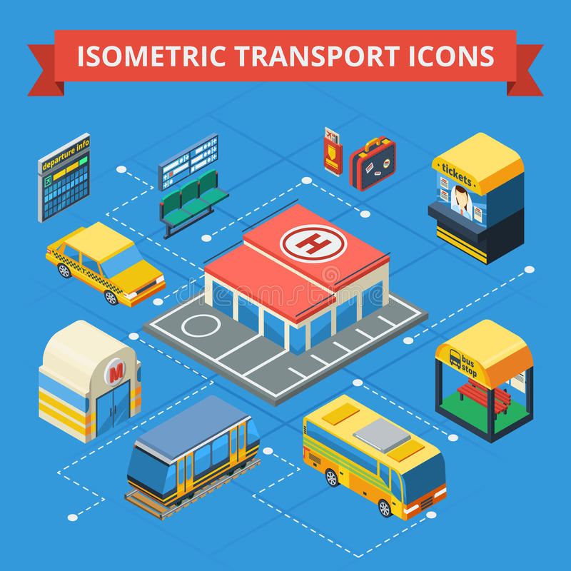 Passenger Transportation Isometric Flowchart. With municipal and city transport ticket kiosk station building passenger accessories vector illustration royalty free illustration