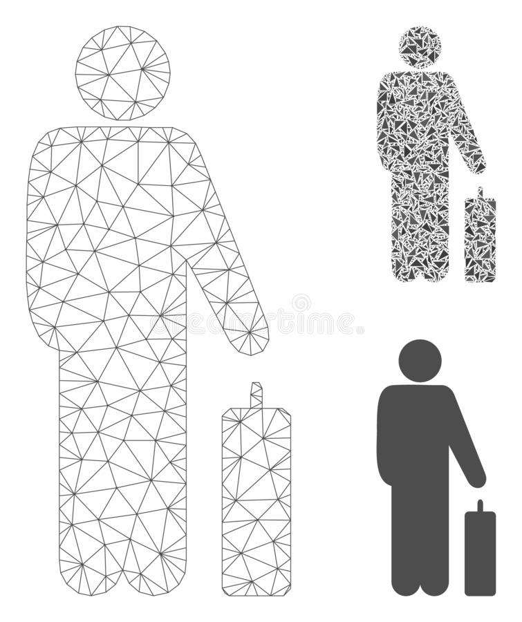 Free Passenger Vector Mesh Carcass Model And Triangle Mosaic Icon Royalty Free Stock Images - 158704779