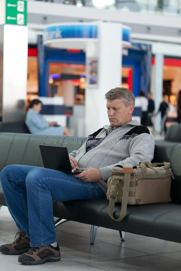 Passenger waiting for flight stock photo
