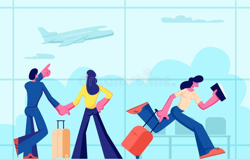 Passengers in Airport Going on Vacation. Happy Young Couple with Luggage Waiting Flight in Terminal. Woman Holding Tickets royalty free illustration