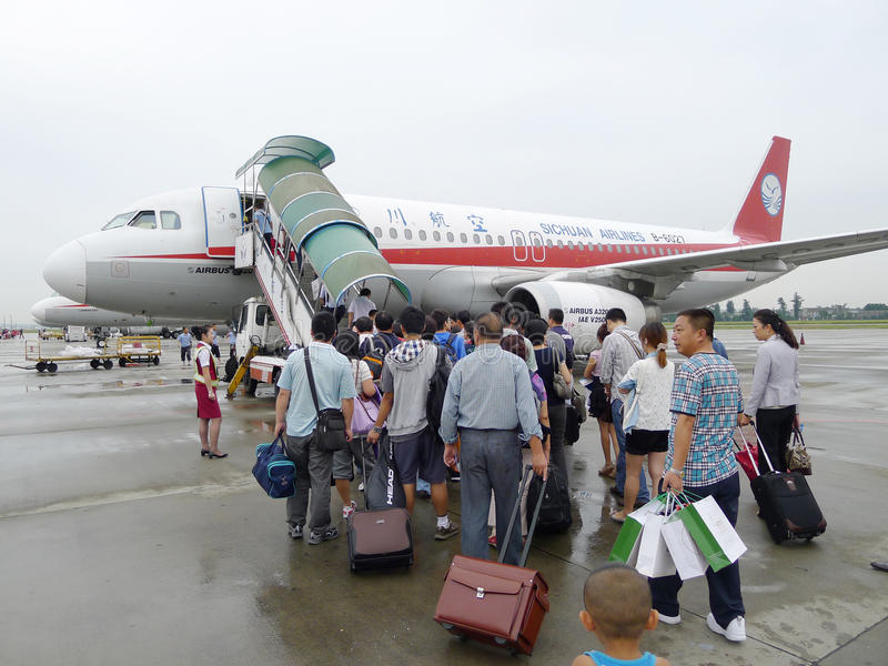 Passengers boarding stock image