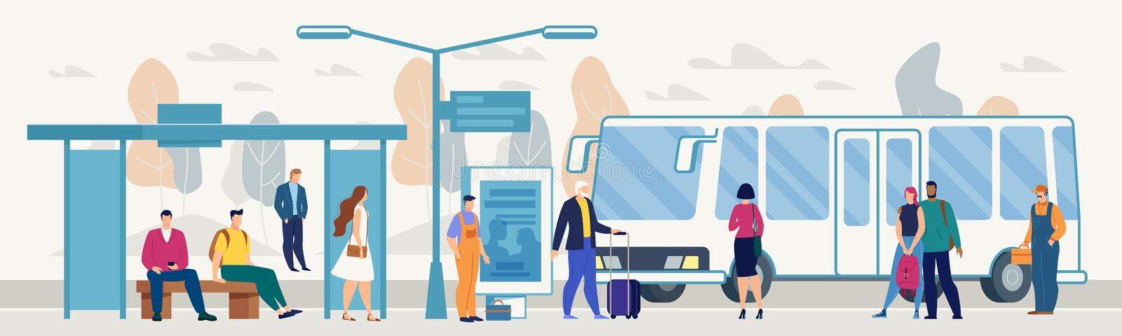 Passengers on City Bus Stop Platform Flat Vector vector illustration