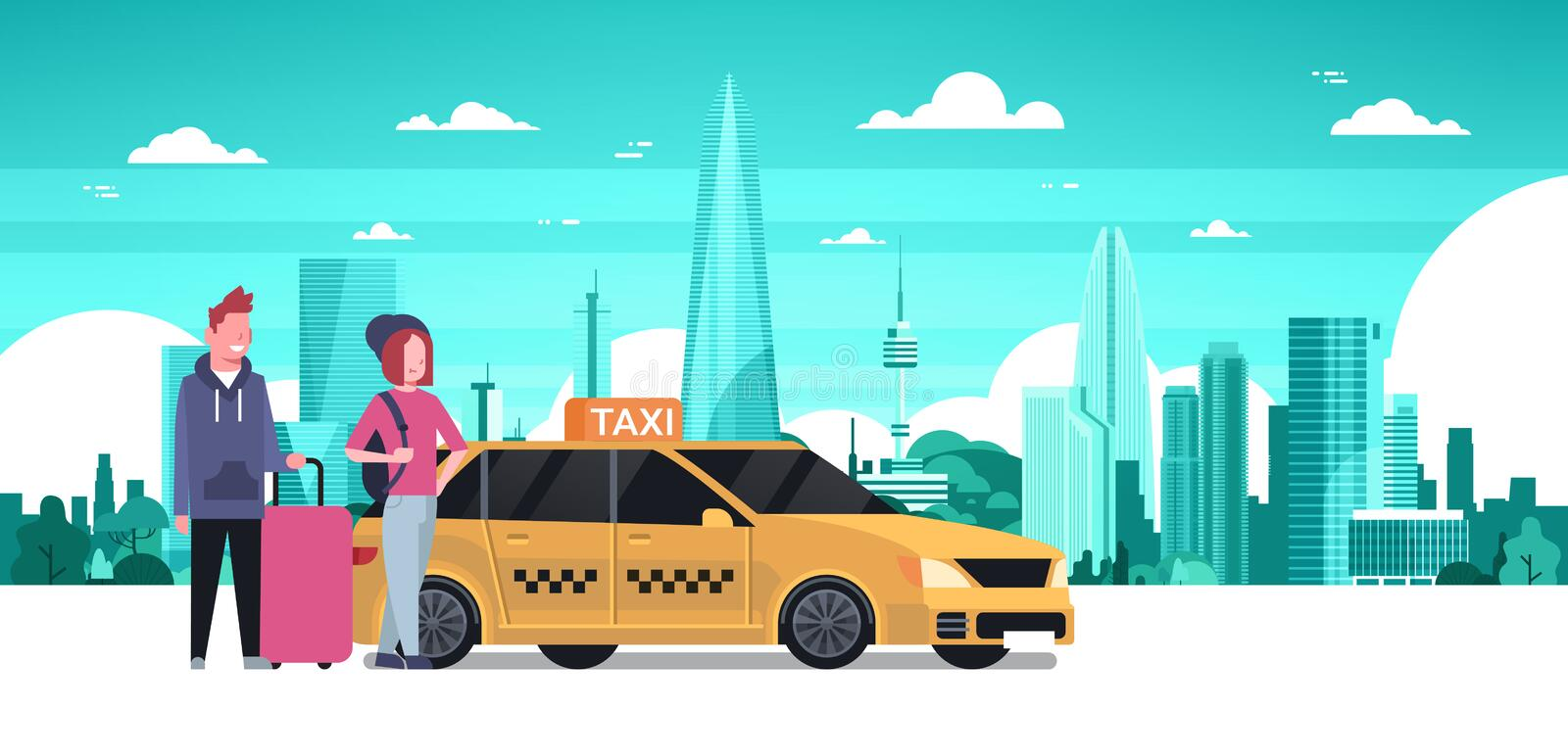 Passengers Couple Order Yellow Taxi Service Sit In Car Cab Over Silhouette City Background. Flat Vector Illustration stock illustration